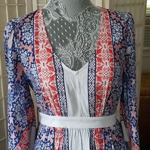 Blue red and light grey pattern dress